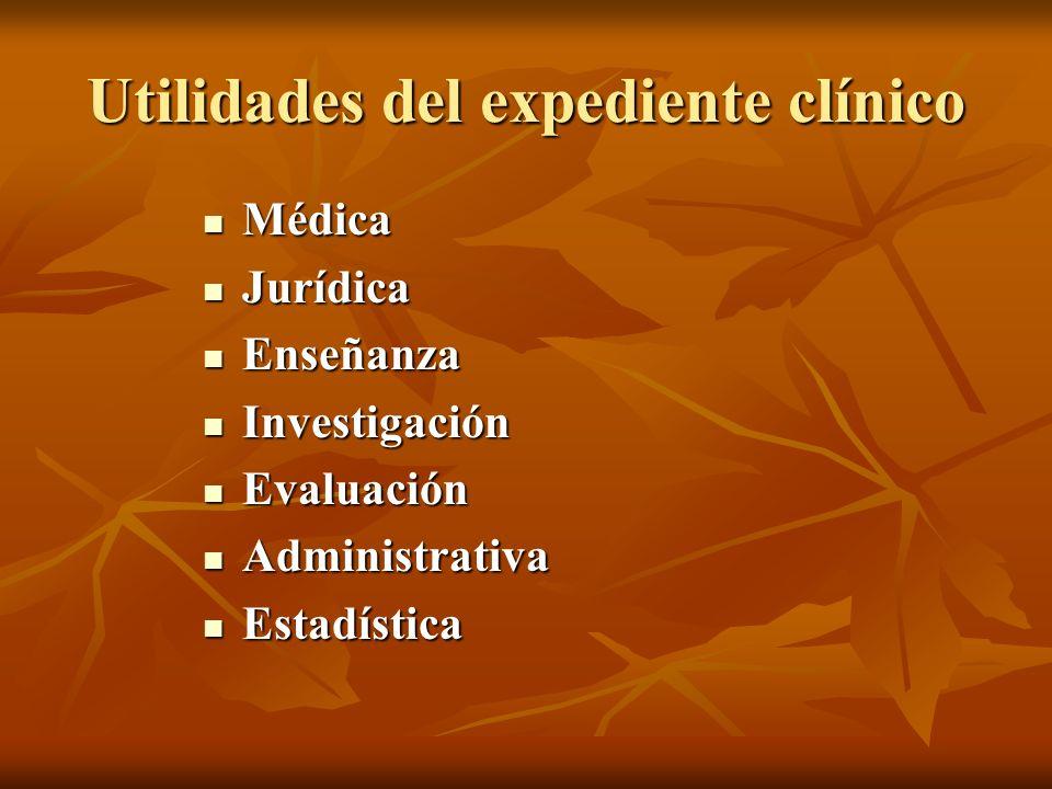 Utilidades del expediente clínico Médica Médica Jurídica Jurídica Enseñanza Enseñanza Investigación Investigación Evaluación Evaluación Administrativa