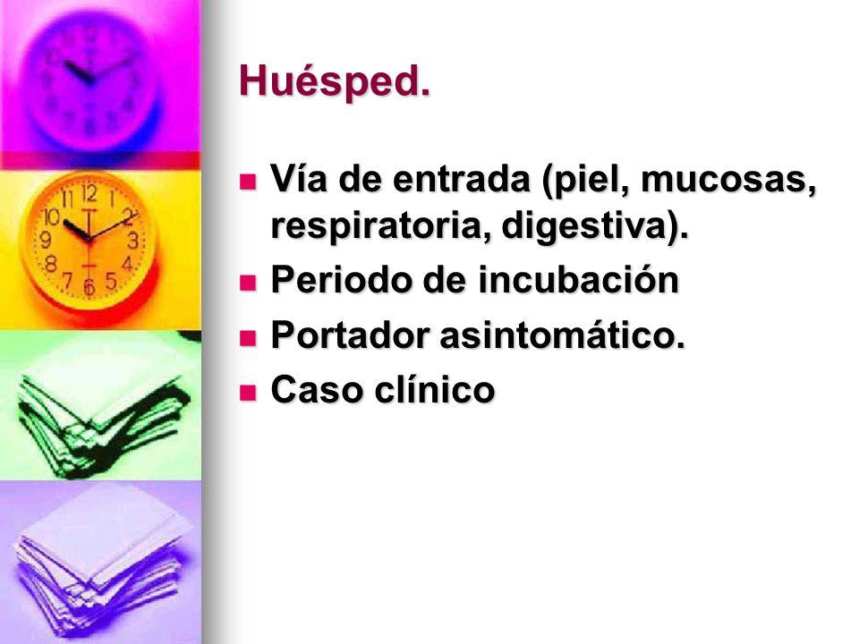 Huésped. Vía de entrada (piel, mucosas, respiratoria, digestiva). Vía de entrada (piel, mucosas, respiratoria, digestiva). Periodo de incubación Perio