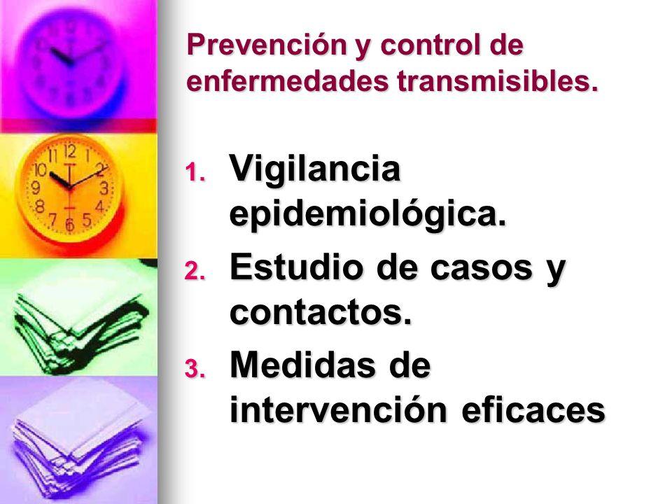 Prevención y control de enfermedades transmisibles. 1. Vigilancia epidemiológica. 2. Estudio de casos y contactos. 3. Medidas de intervención eficaces