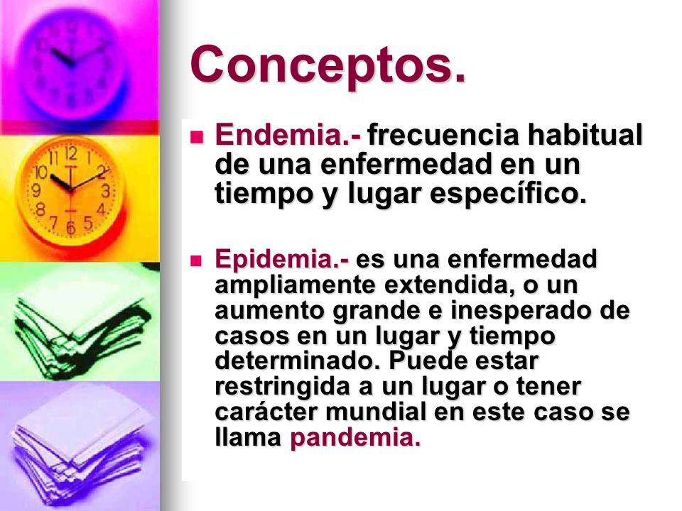 Conceptos.Endemia.- frecuencia habitual de una enfermedad en un tiempo y lugar específico.
