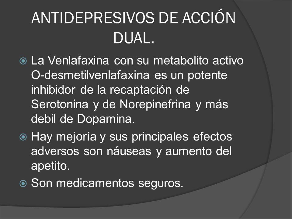 ANTIDEPRESIVOS DE ACCIÓN DUAL. La Venlafaxina con su metabolito activo O-desmetilvenlafaxina es un potente inhibidor de la recaptación de Serotonina y