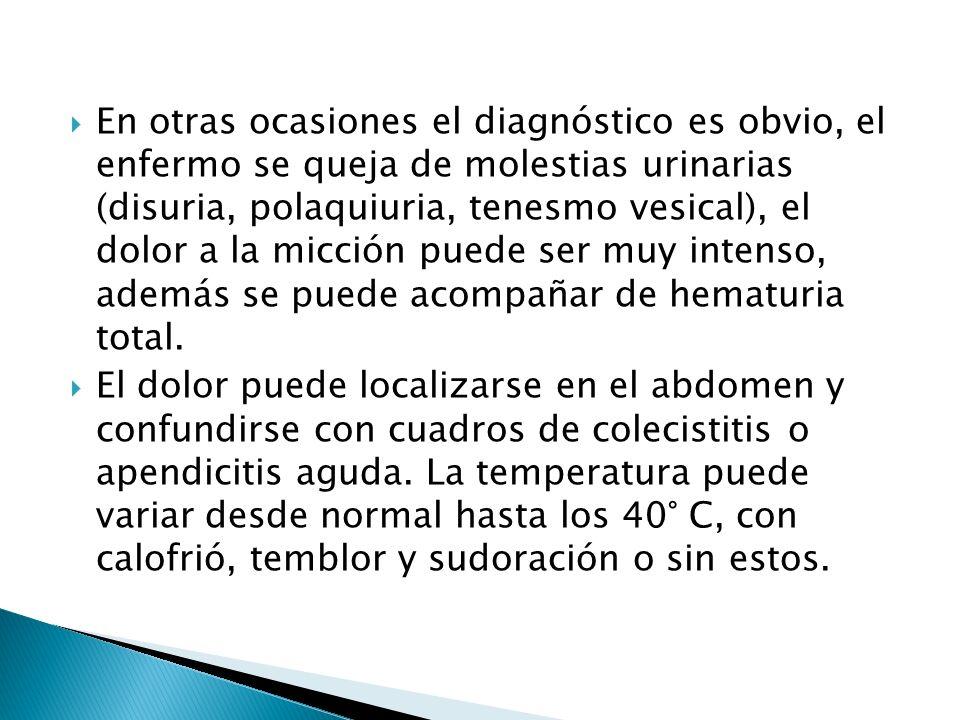 En otras ocasiones el diagnóstico es obvio, el enfermo se queja de molestias urinarias (disuria, polaquiuria, tenesmo vesical), el dolor a la micción