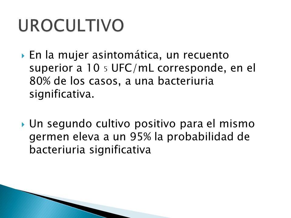 En la mujer asintomática, un recuento superior a 10 5 UFC/mL corresponde, en el 80% de los casos, a una bacteriuria significativa. Un segundo cultivo
