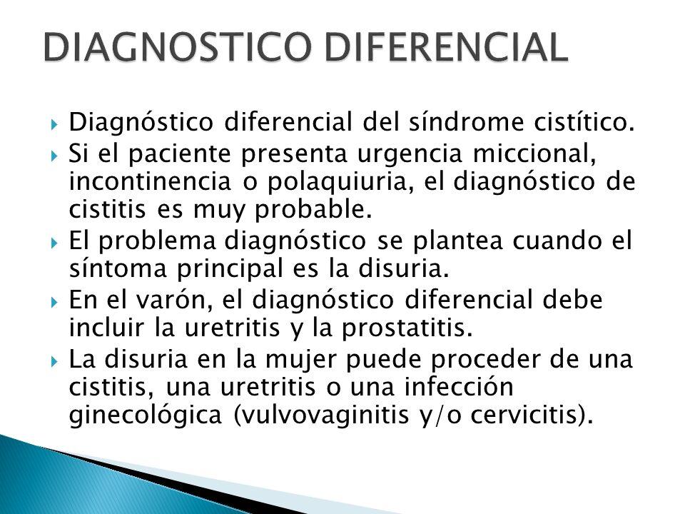 Diagnóstico diferencial del síndrome cistítico. Si el paciente presenta urgencia miccional, incontinencia o polaquiuria, el diagnóstico de cistitis es