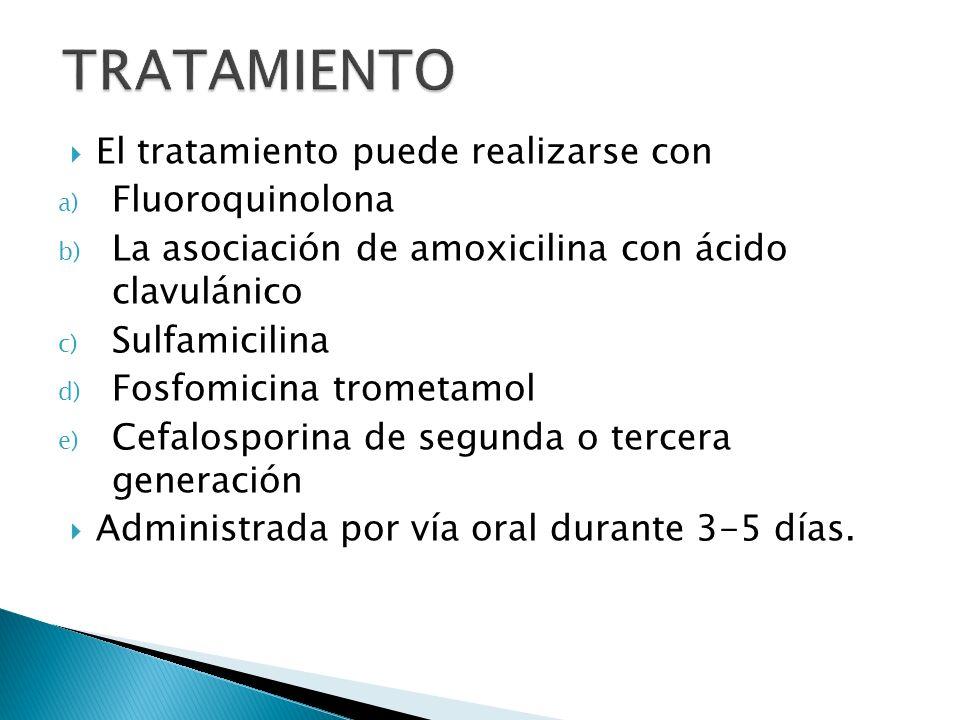 El tratamiento puede realizarse con a) Fluoroquinolona b) La asociación de amoxicilina con ácido clavulánico c) Sulfamicilina d) Fosfomicina trometamo