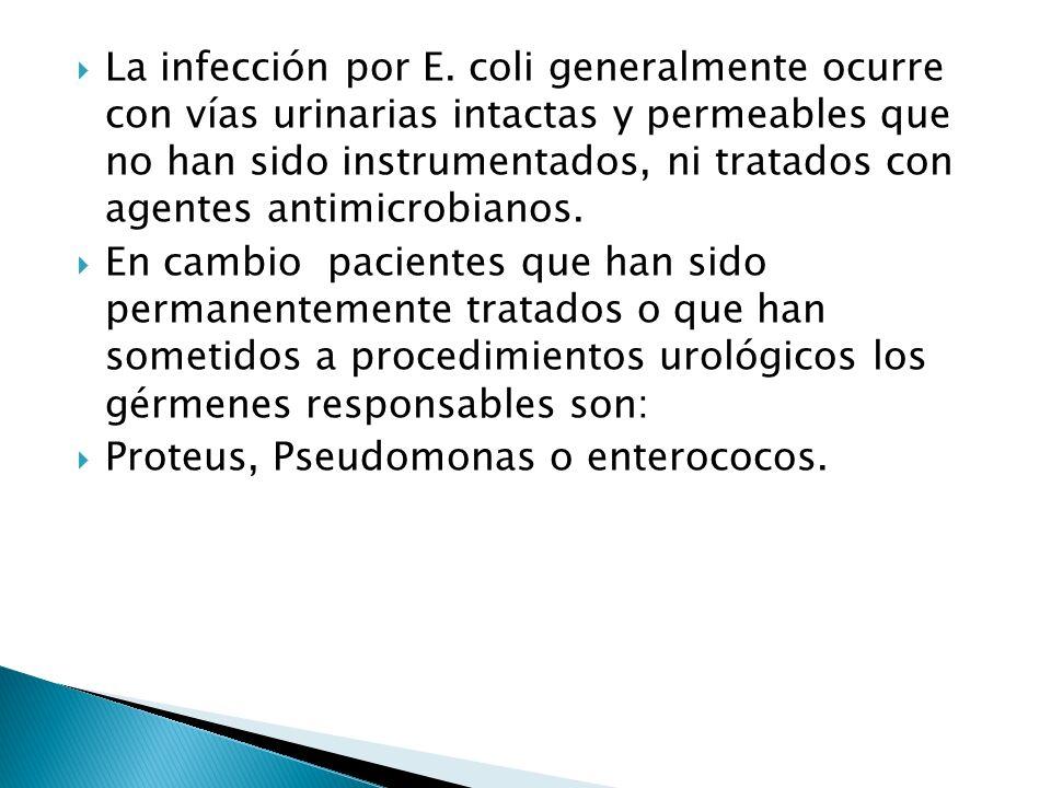 La infección por E. coli generalmente ocurre con vías urinarias intactas y permeables que no han sido instrumentados, ni tratados con agentes antimicr