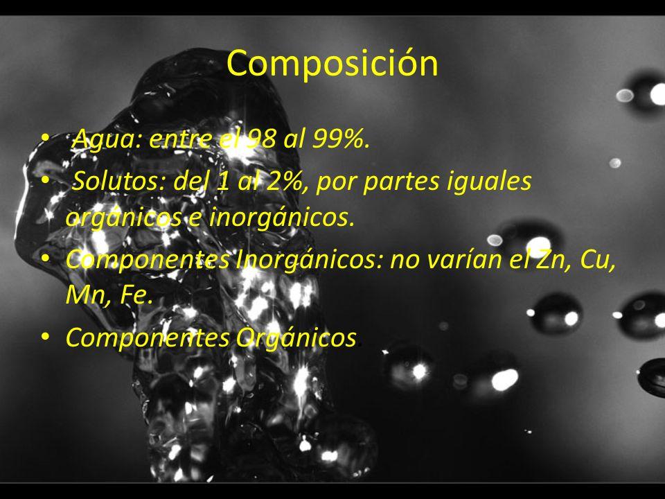 Composición Agua: entre el 98 al 99%. Solutos: del 1 al 2%, por partes iguales orgánicos e inorgánicos. Componentes Inorgánicos: no varían el Zn, Cu,