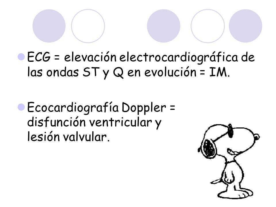 ECG = elevación electrocardiográfica de las ondas ST y Q en evolución = IM. Ecocardiografía Doppler = disfunción ventricular y lesión valvular.
