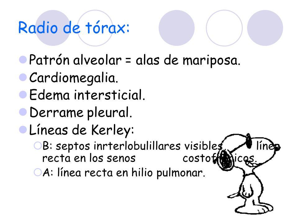 Radio de tórax: Patrón alveolar = alas de mariposa. Cardiomegalia. Edema intersticial. Derrame pleural. Líneas de Kerley: B: septos inrterlobulillares