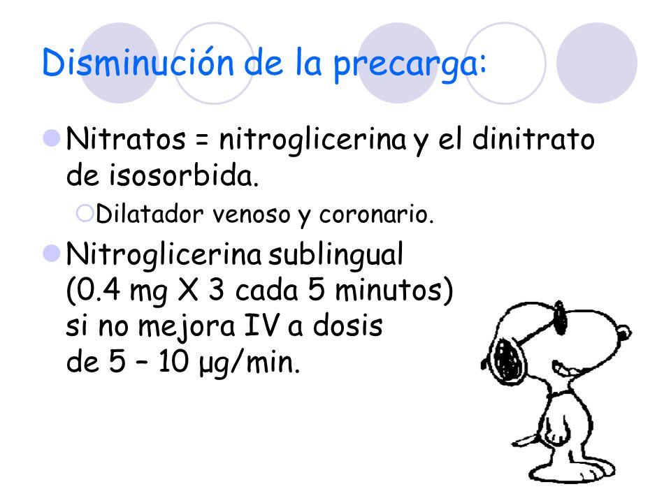 Disminución de la precarga: Nitratos = nitroglicerina y el dinitrato de isosorbida. Dilatador venoso y coronario. Nitroglicerina sublingual (0.4 mg X