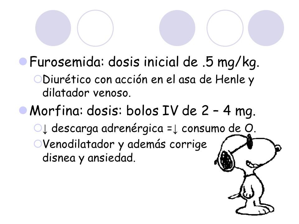 Furosemida: dosis inicial de.5 mg/kg. Diurético con acción en el asa de Henle y dilatador venoso. Morfina: dosis: bolos IV de 2 – 4 mg. descarga adren