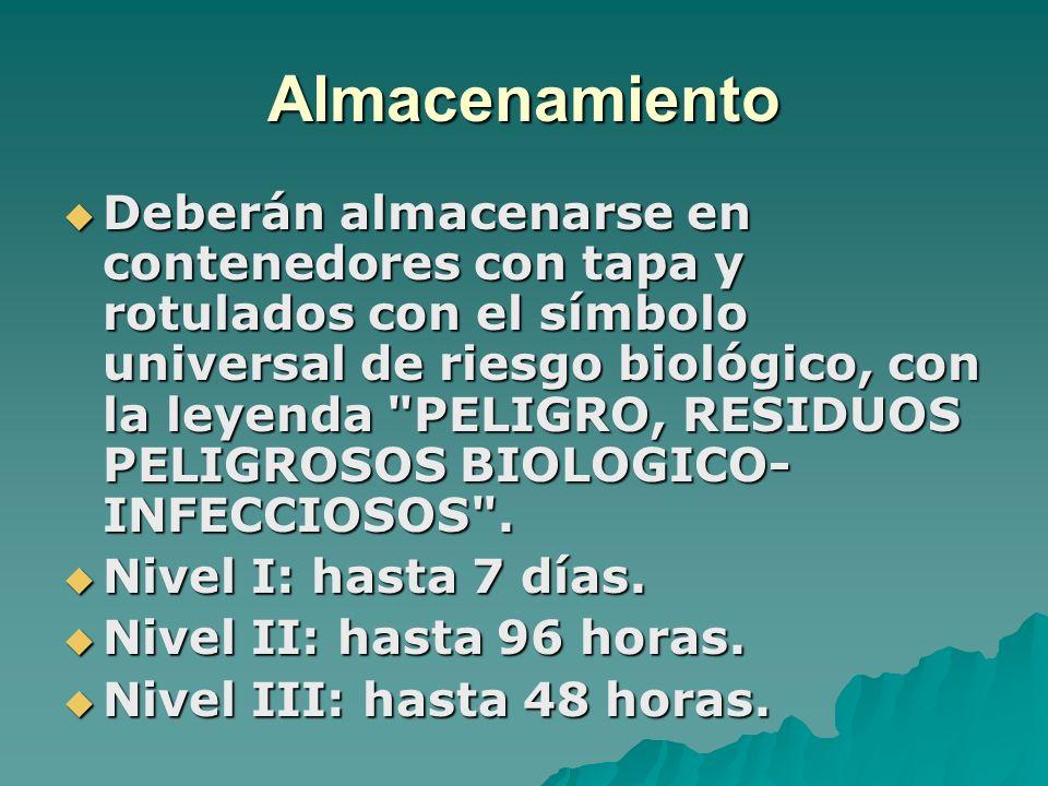 Almacenamiento Deberán almacenarse en contenedores con tapa y rotulados con el símbolo universal de riesgo biológico, con la leyenda