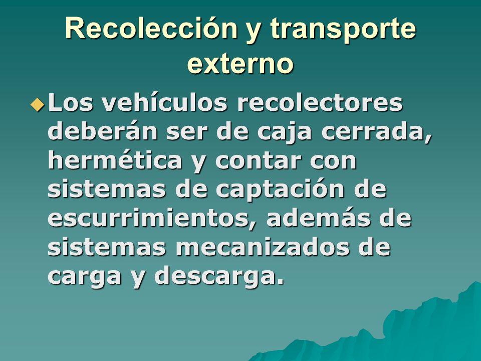 Recolección y transporte externo Los vehículos recolectores deberán ser de caja cerrada, hermética y contar con sistemas de captación de escurrimiento