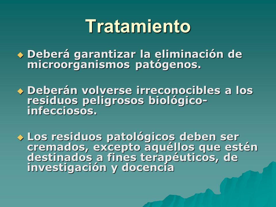 Tratamiento Deberá garantizar la eliminación de microorganismos patógenos. Deberá garantizar la eliminación de microorganismos patógenos. Deberán volv