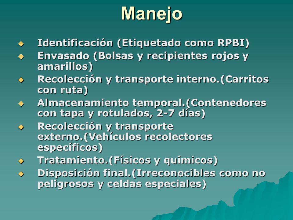 Manejo Identificación (Etiquetado como RPBI) Identificación (Etiquetado como RPBI) Envasado (Bolsas y recipientes rojos y amarillos) Envasado (Bolsas