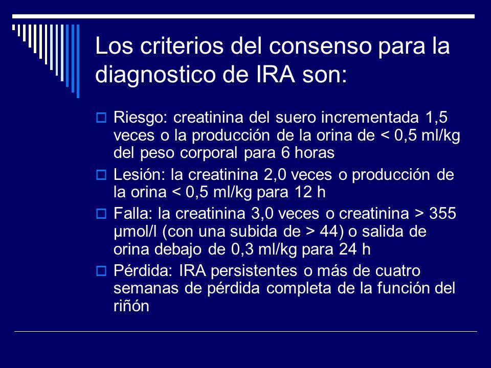 Los criterios del consenso para la diagnostico de IRA son: Riesgo: creatinina del suero incrementada 1,5 veces o la producción de la orina de < 0,5 ml