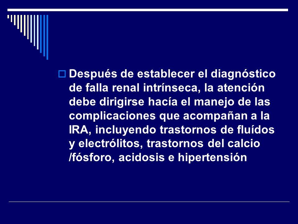 Después de establecer el diagnóstico de falla renal intrínseca, la atención debe dirigirse hacía el manejo de las complicaciones que acompañan a la IR