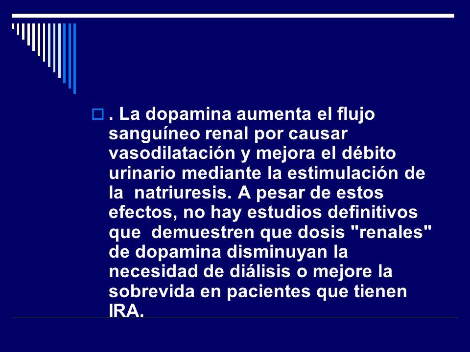 . La dopamina aumenta el flujo sanguíneo renal por causar vasodilatación y mejora el débito urinario mediante la estimulación de la natriuresis. A pes