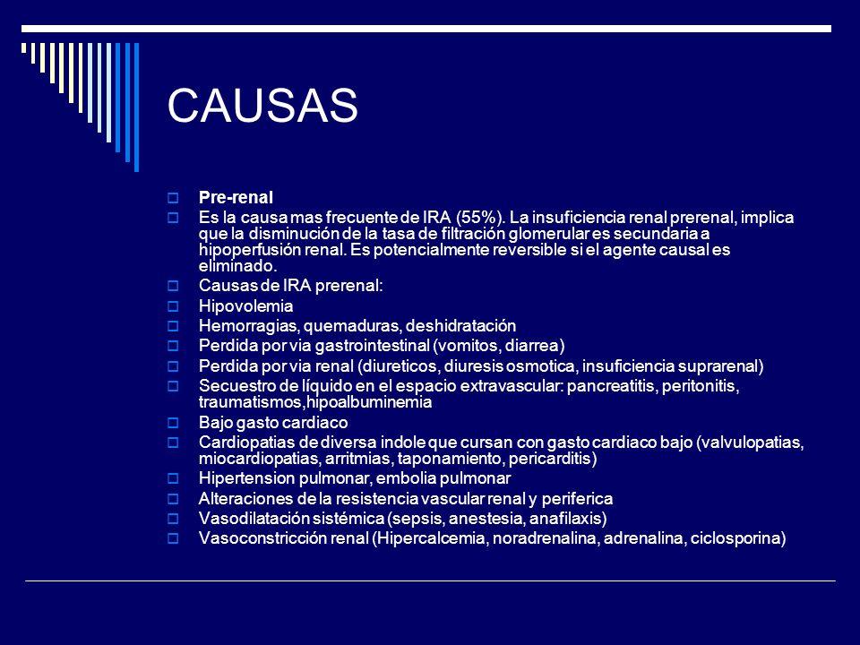 CAUSAS Pre-renal Es la causa mas frecuente de IRA (55%). La insuficiencia renal prerenal, implica que la disminución de la tasa de filtración glomerul
