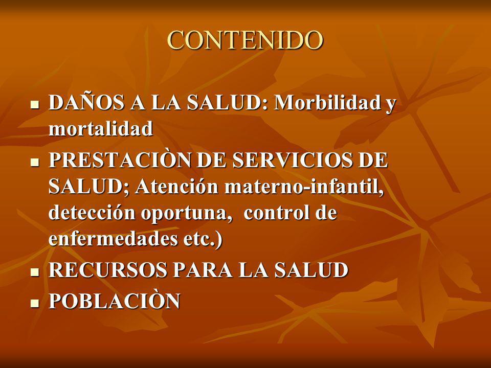CONTENIDO DAÑOS A LA SALUD: Morbilidad y mortalidad DAÑOS A LA SALUD: Morbilidad y mortalidad PRESTACIÒN DE SERVICIOS DE SALUD; Atención materno-infan