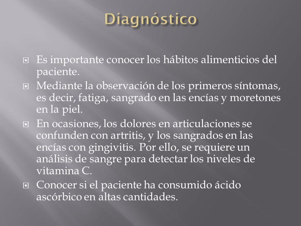 Es importante conocer los hábitos alimenticios del paciente. Mediante la observación de los primeros síntomas, es decir, fatiga, sangrado en las encía