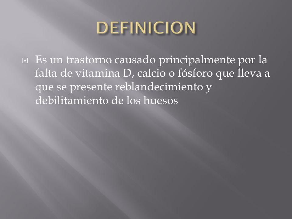 Es un trastorno causado principalmente por la falta de vitamina D, calcio o fósforo que lleva a que se presente reblandecimiento y debilitamiento de l