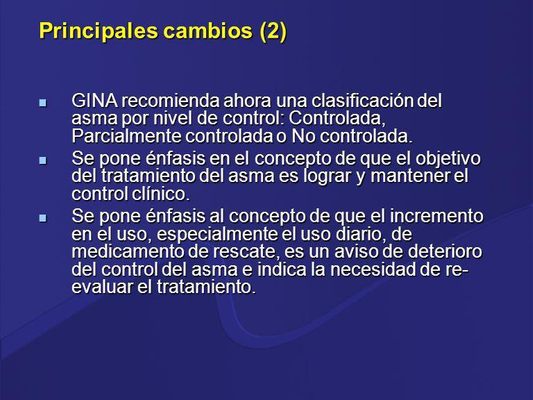 2006 PASO 5PASO4PASO3PASO 2 PASO PASO 1 OPCIÓN PREFERIDA PARA CONTROL OTRASOPCIONES 2 agonista de rápida acción prn 2 agonista de rápida acción prn AGREGUE UNO O AMBOS AGREGUE UNO O MAS SELECCIONE UNO Glucocorticoide oral (la dosis más baja) Dosis moderada o alta de CEI Dosis bajas de CEI más 2 agonista de acción larga Dosis bajas de CEI 2 agonista de acción rápida prn 2 agonista de acción rápida prn TRATAMIENTO POR PASOS reducir aumentar En pacientes vírgenes a tratamiento no controlados (muy sintomáticos), debe iniciarse con el paso 3.