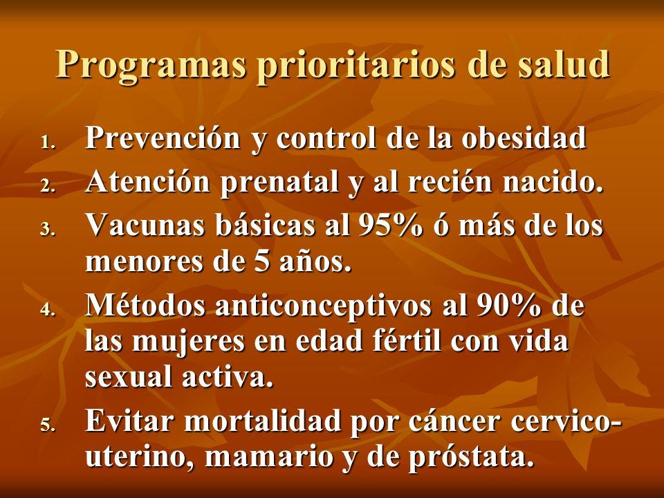 …Programas prioritarios de salud 6.-Vigilar crecimiento y desarrollo de niños menores de 5 años: Control nutricional.