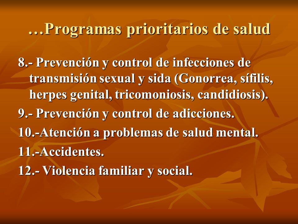 …Programas prioritarios de salud 13.- Detección y tratamiento de tuberculosis y lepra.
