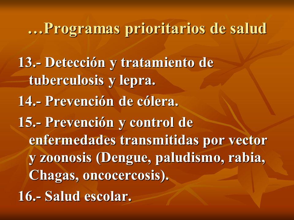 …Programas prioritarios de salud 17.- Comunidad y municipio saludable.