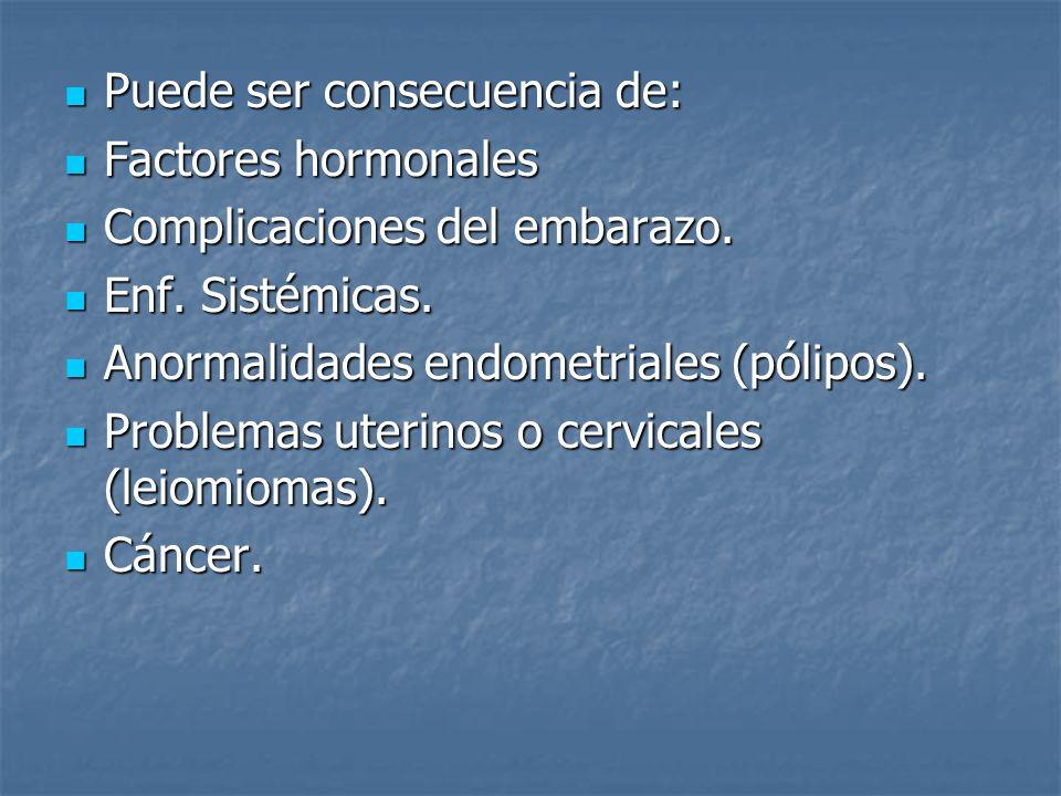 Puede ser consecuencia de: Puede ser consecuencia de: Factores hormonales Factores hormonales Complicaciones del embarazo. Complicaciones del embarazo
