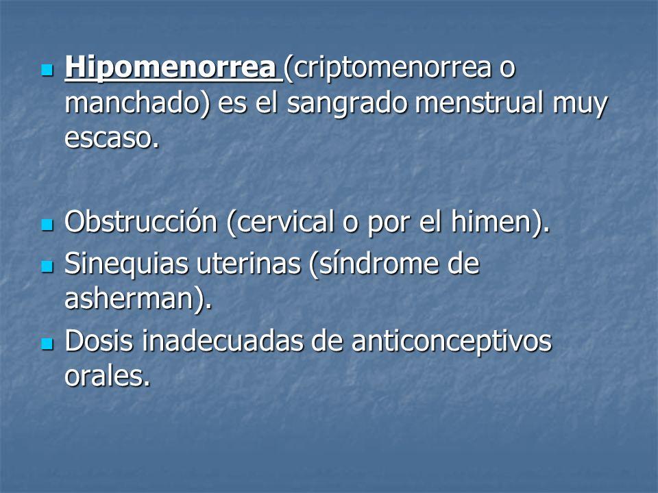 Hipomenorrea (criptomenorrea o manchado) es el sangrado menstrual muy escaso. Hipomenorrea (criptomenorrea o manchado) es el sangrado menstrual muy es