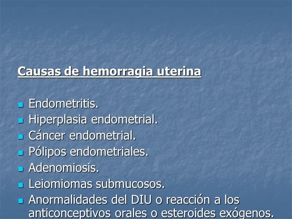 Causas de hemorragia uterina Endometritis. Endometritis. Hiperplasia endometrial. Hiperplasia endometrial. Cáncer endometrial. Cáncer endometrial. Pól