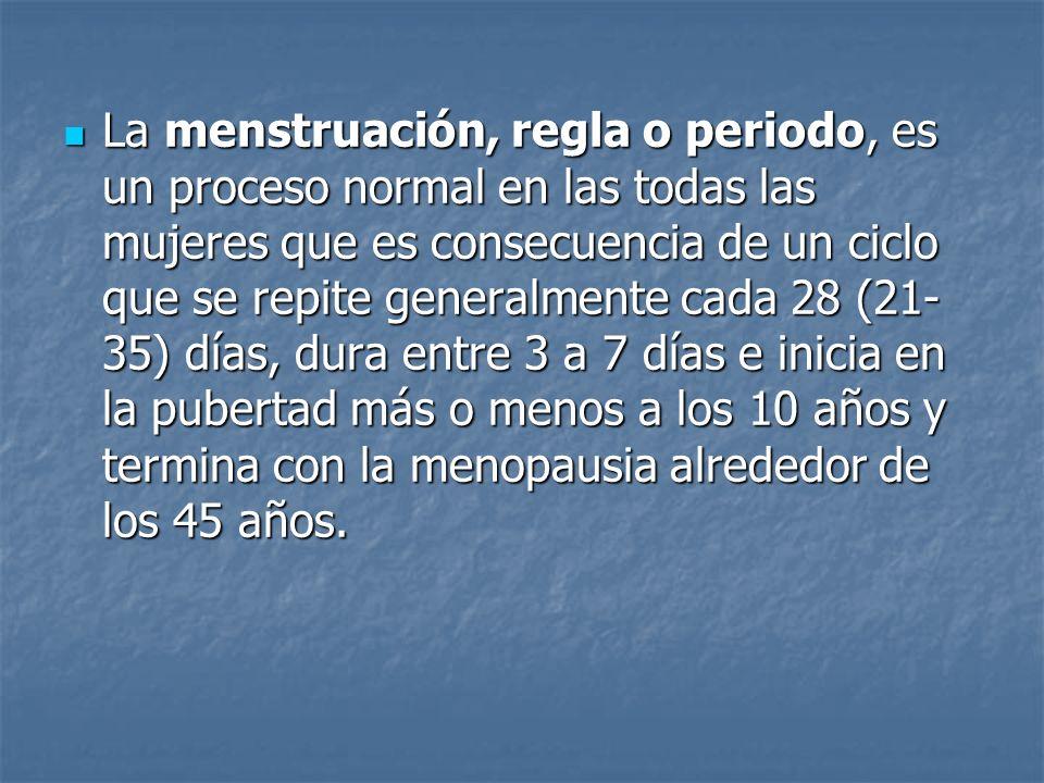 La menstruación, regla o periodo, es un proceso normal en las todas las mujeres que es consecuencia de un ciclo que se repite generalmente cada 28 (21