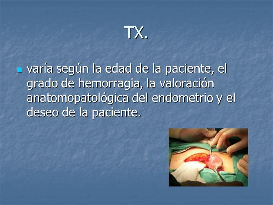 TX. varía según la edad de la paciente, el grado de hemorragia, la valoración anatomopatológica del endometrio y el deseo de la paciente. varía según