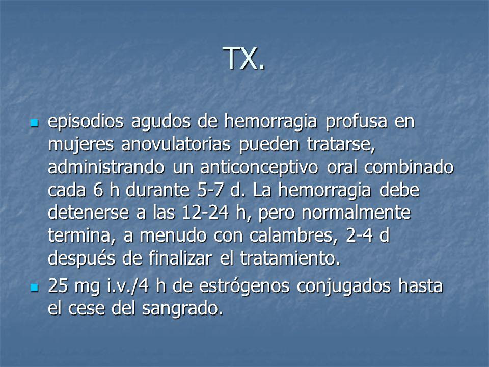 TX. episodios agudos de hemorragia profusa en mujeres anovulatorias pueden tratarse, administrando un anticonceptivo oral combinado cada 6 h durante 5