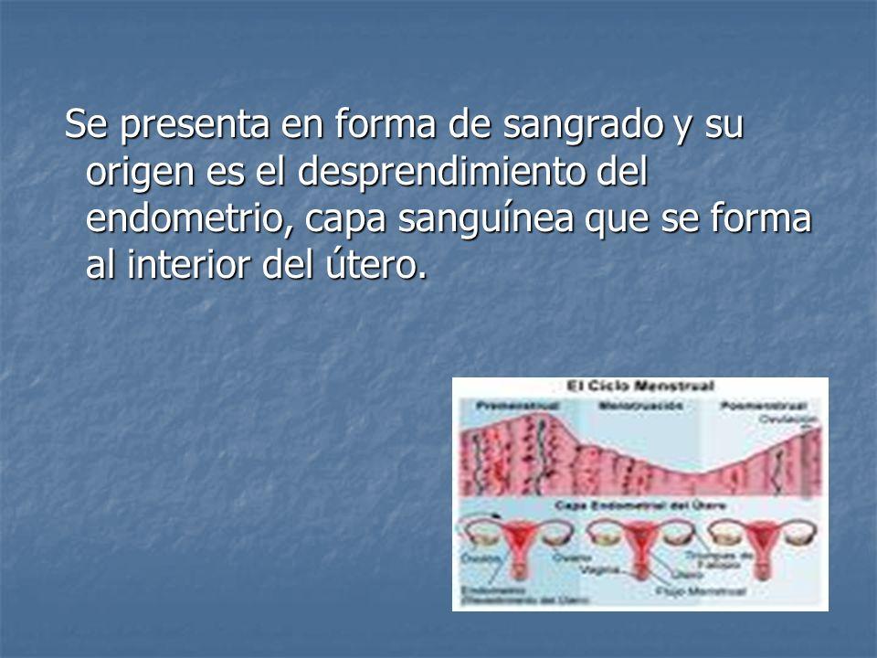 Se presenta en forma de sangrado y su origen es el desprendimiento del endometrio, capa sanguínea que se forma al interior del útero. Se presenta en f