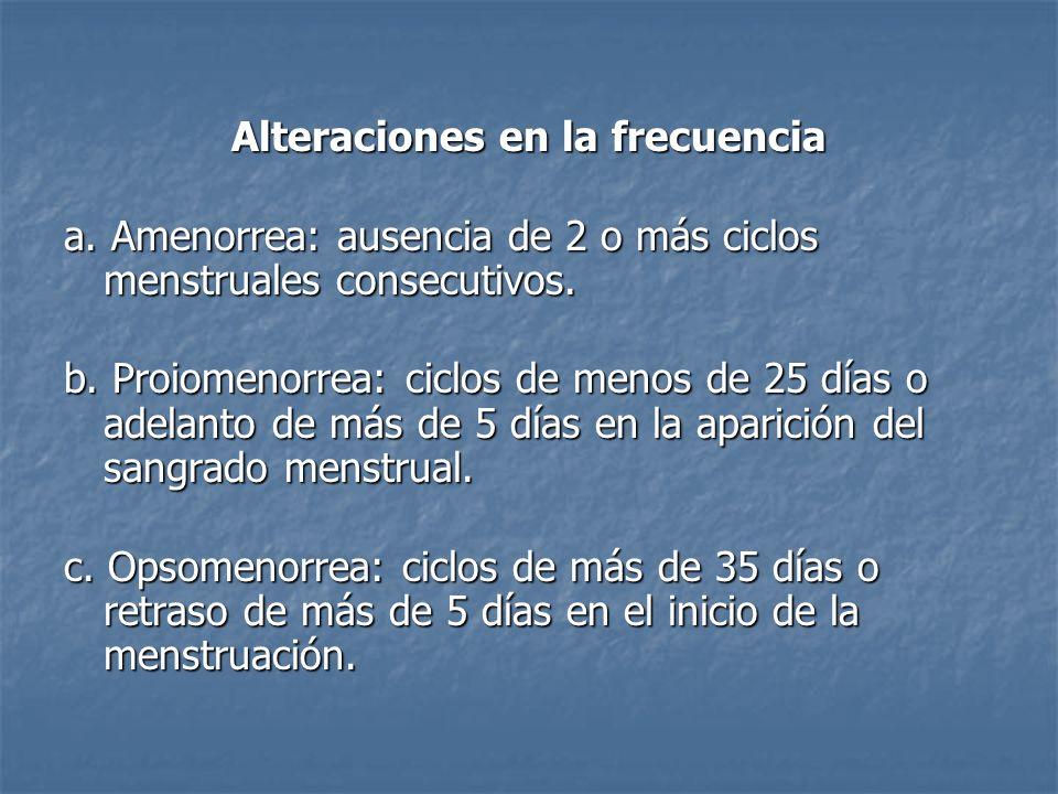 Alteraciones en la frecuencia a. Amenorrea: ausencia de 2 o más ciclos menstruales consecutivos. b. Proiomenorrea: ciclos de menos de 25 días o adelan