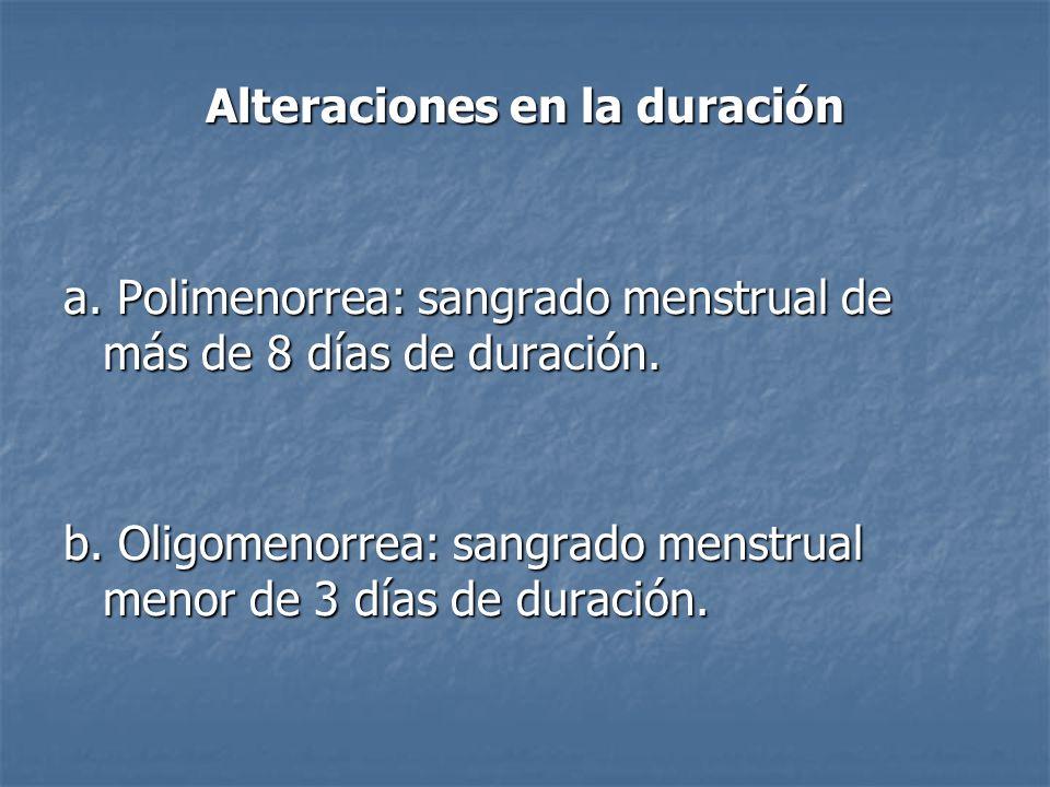 Alteraciones en la duración a. Polimenorrea: sangrado menstrual de más de 8 días de duración. b. Oligomenorrea: sangrado menstrual menor de 3 días de