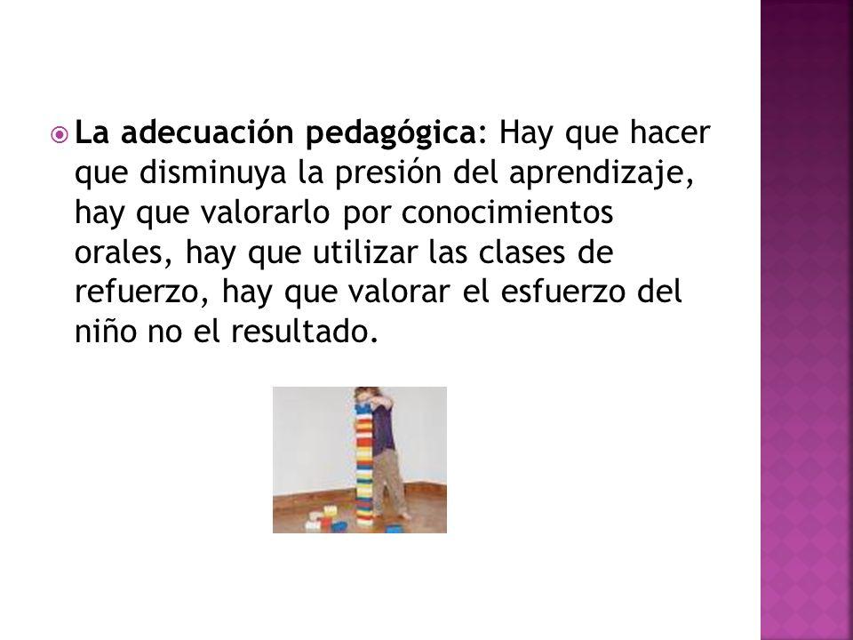 La adecuación pedagógica: Hay que hacer que disminuya la presión del aprendizaje, hay que valorarlo por conocimientos orales, hay que utilizar las cla