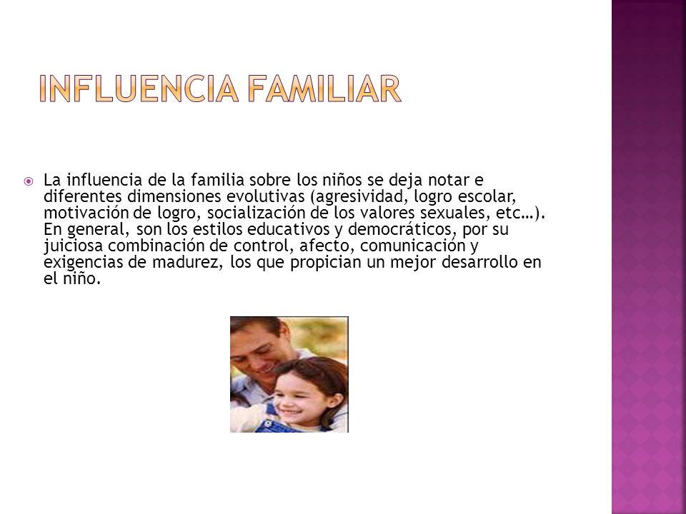 La influencia de la familia sobre los niños se deja notar e diferentes dimensiones evolutivas (agresividad, logro escolar, motivación de logro, social
