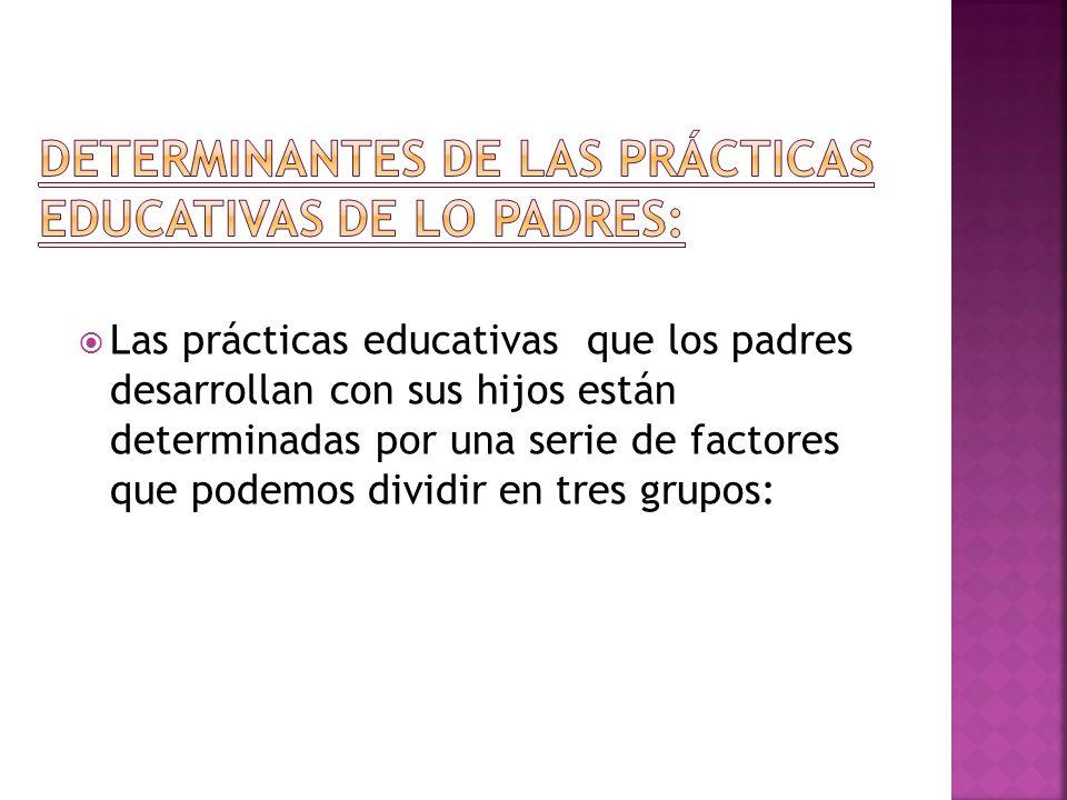 Las prácticas educativas que los padres desarrollan con sus hijos están determinadas por una serie de factores que podemos dividir en tres grupos: