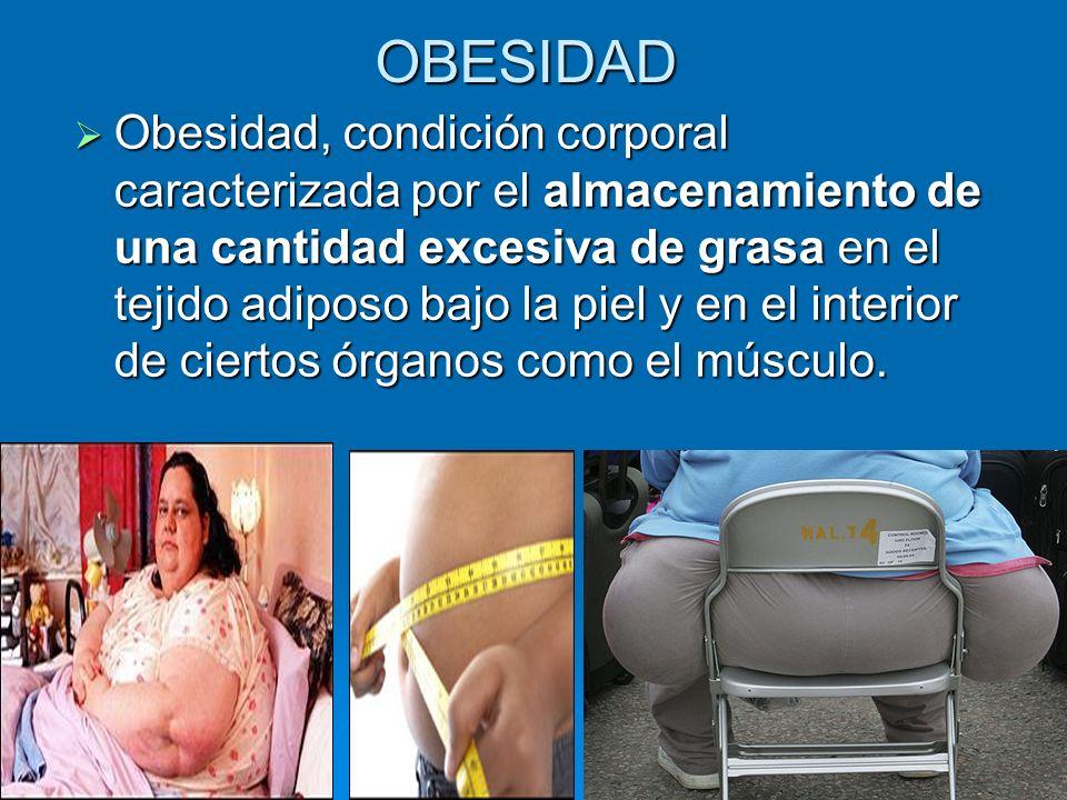 OBESIDAD Obesidad, condición corporal caracterizada por el almacenamiento de una cantidad excesiva de grasa en el tejido adiposo bajo la piel y en el