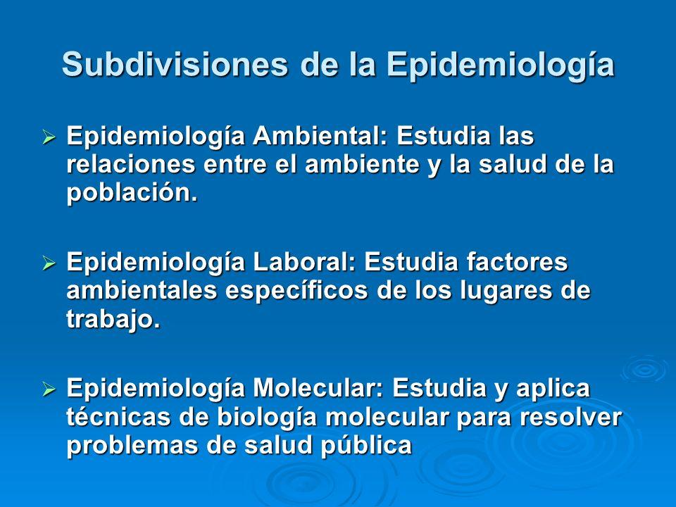 Subdivisiones de la Epidemiología Epidemiología Ambiental: Estudia las relaciones entre el ambiente y la salud de la población. Epidemiología Ambienta