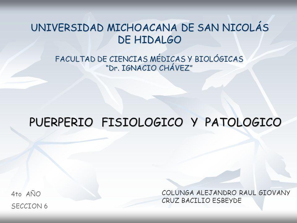 UNIVERSIDAD MICHOACANA DE SAN NICOLÁS DE HIDALGO FACULTAD DE CIENCIAS MÉDICAS Y BIOLÓGICAS Dr. IGNACIO CHÁVEZ 4to AÑO SECCION 6 COLUNGA ALEJANDRO RAUL