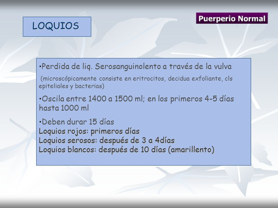LOQUIOS Perdida de liq. Serosanguinolento a través de la vulva (microscópicamente consiste en eritrocitos, decidua exfoliante, cls epiteliales y bacte