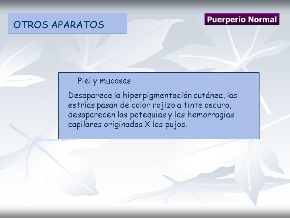 OTROS APARATOS Piel y mucosas Piel y mucosas Desaparece la hiperpigmentación cutánea, las estrías pasan de color rojizo a tinte oscuro, desaparecen la