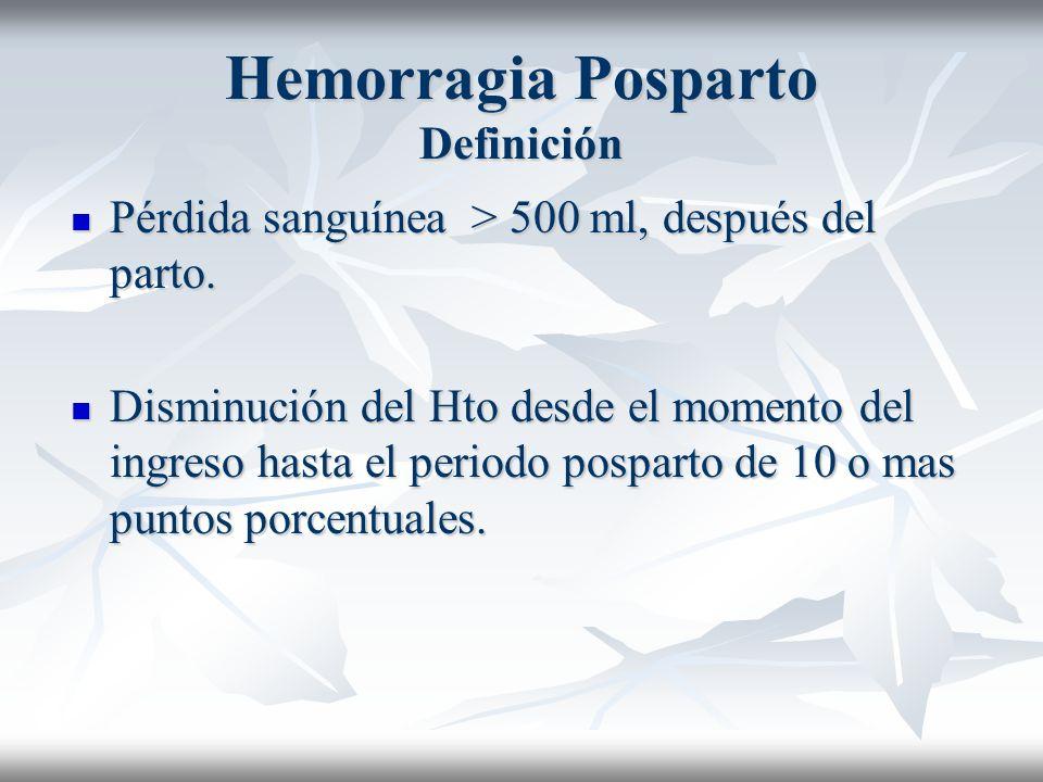Hemorragia Posparto Definición Pérdida sanguínea > 500 ml, después del parto. Pérdida sanguínea > 500 ml, después del parto. Disminución del Hto desde