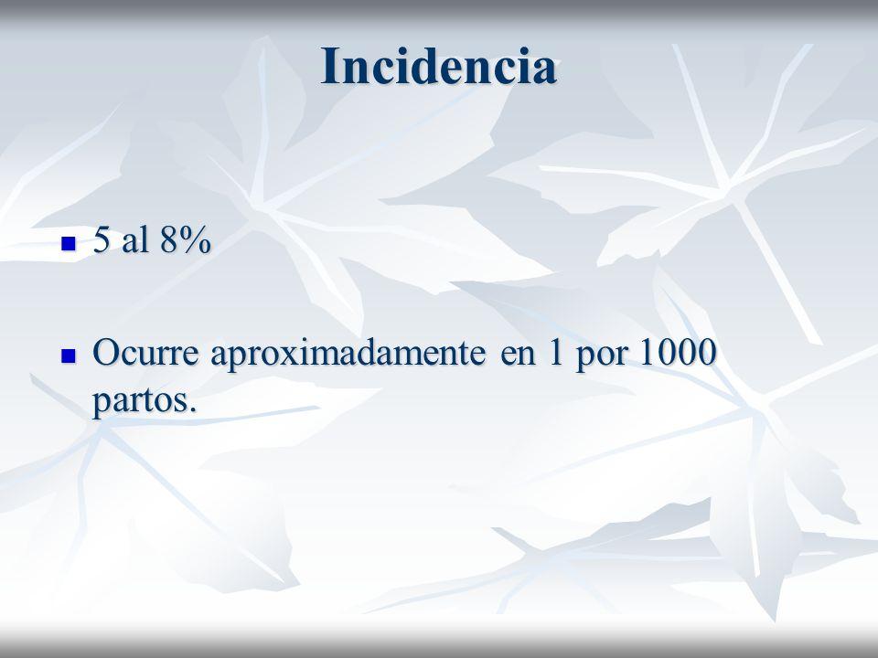 Incidencia 5 al 8% 5 al 8% Ocurre aproximadamente en 1 por 1000 partos. Ocurre aproximadamente en 1 por 1000 partos.