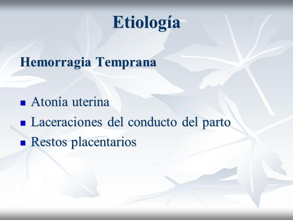 Etiología Hemorragia Temprana Atonía uterina Atonía uterina Laceraciones del conducto del parto Laceraciones del conducto del parto Restos placentario